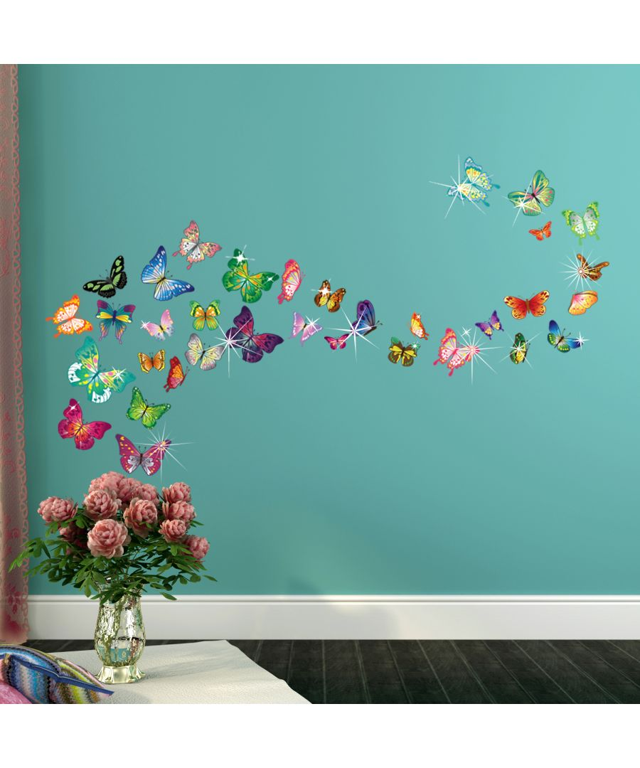 Image for Wall Sticker Decal Butterflies with Swarovski Crystals