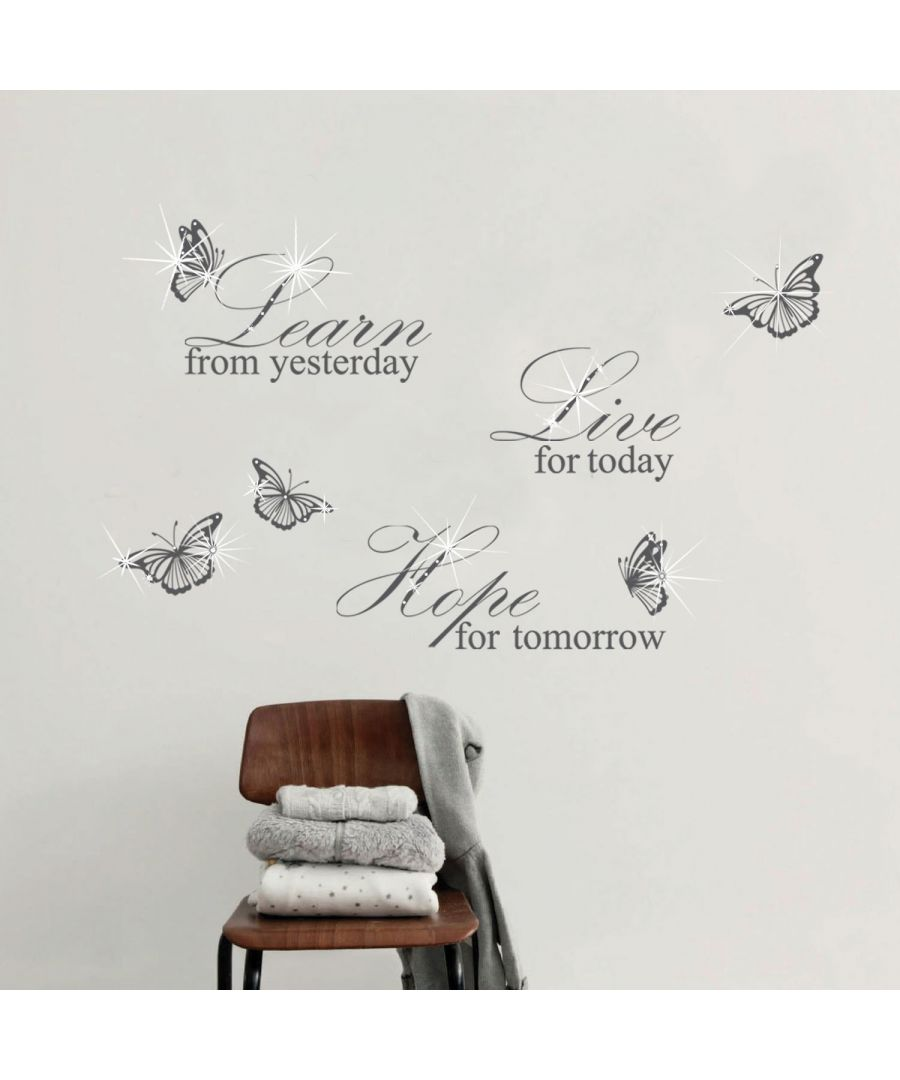 Image for Wall Sticker Decal Grey Learn Live Hope Quote with Swarovski Crystals