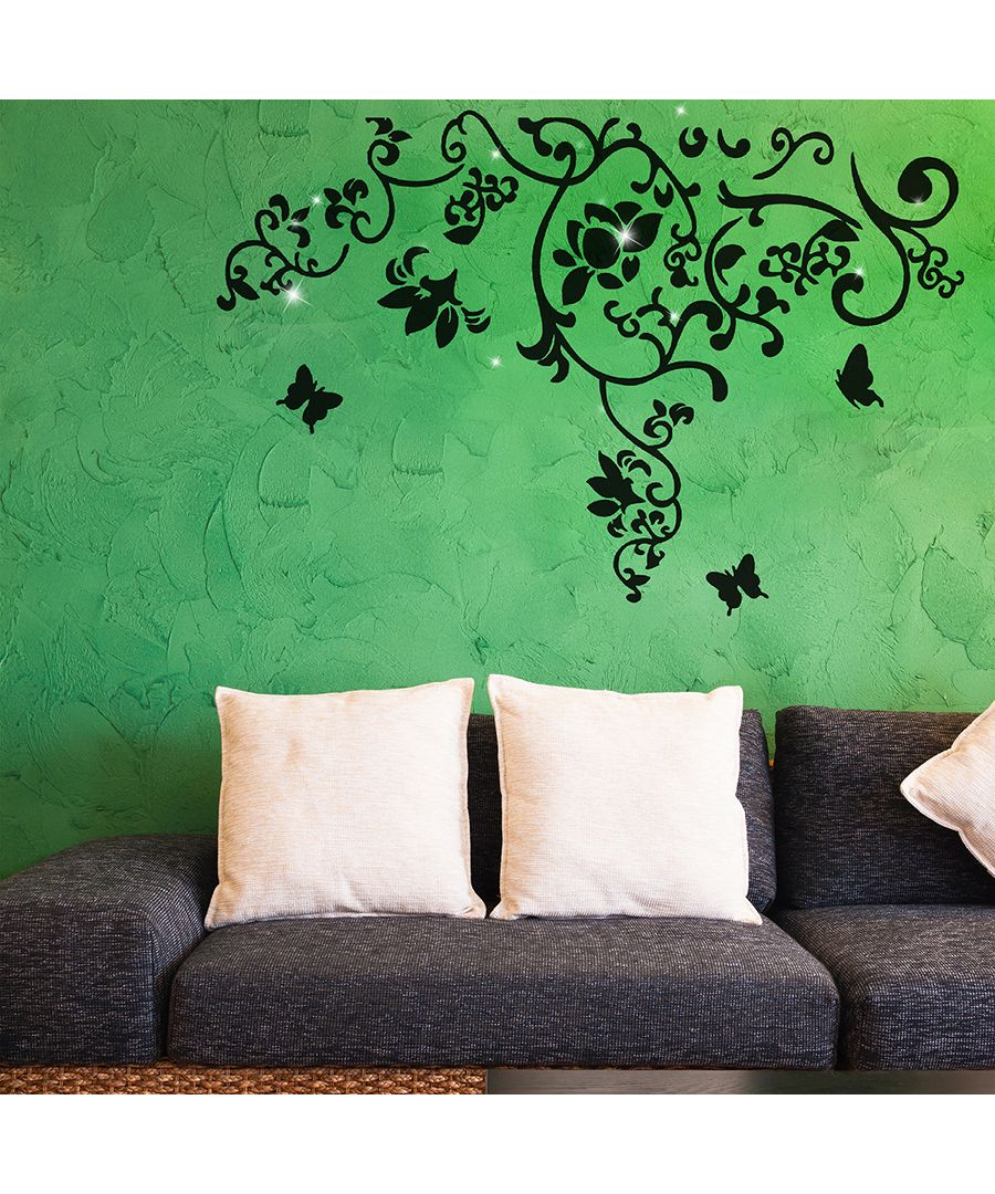 Image for Wall Sticker Decal Butterfly Vine with Swarovski Crystals