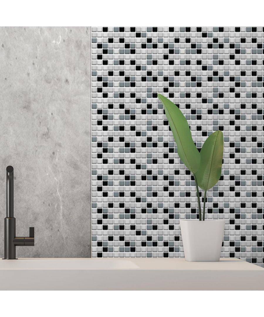 Image for Classic Black and White Mosaic Glossy 3D Sticker Tile 30 x 15cm (11.8 x 6 in) - 12pcs in a pack 3D Tiles Wall Stickers, Kitchen, Bathroom, Living room, peel and stick