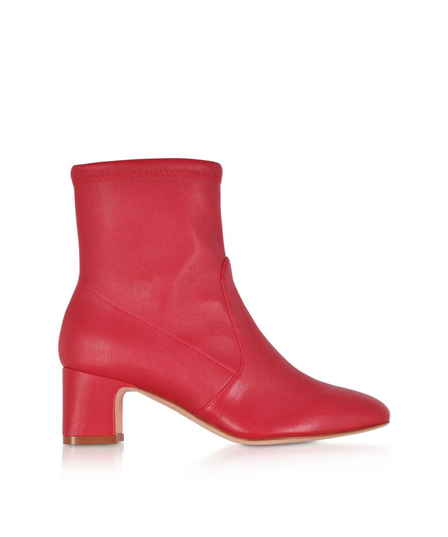 Image for STUART WEITZMAN WOMEN'S ZL51450NIKI60 RED LEATHER ANKLE BOOTS