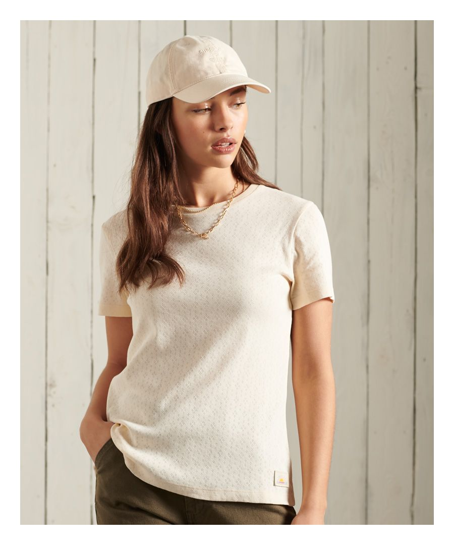 Image for Superdry Cali Pointelle Crew T-Shirt