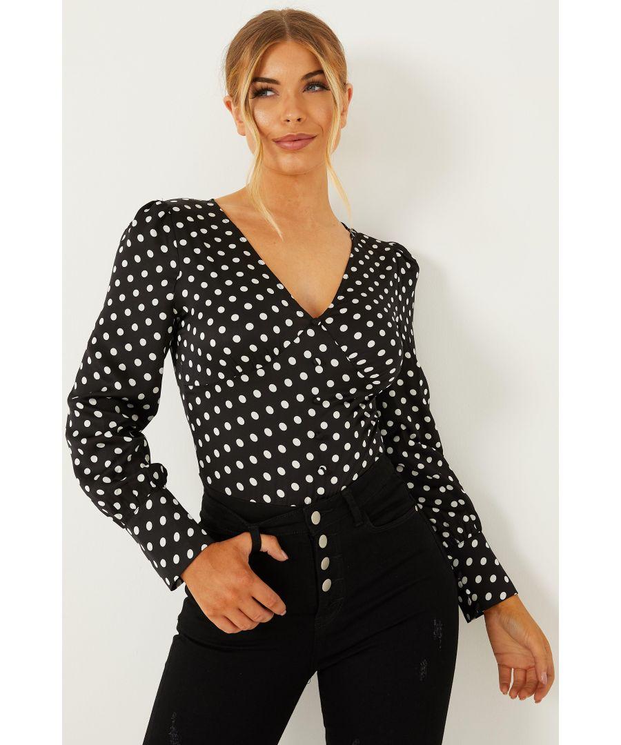 Image for Petite Black Polka Dot Satin Bodysuit