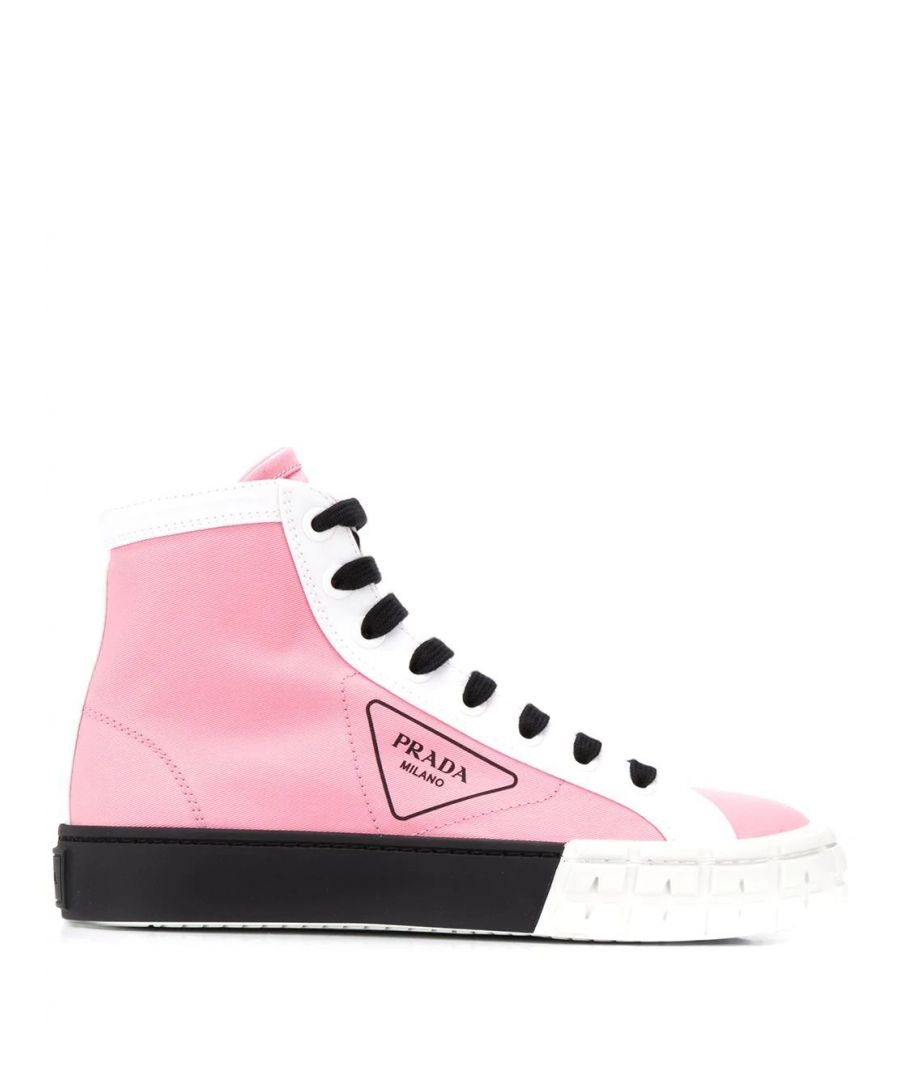 Image for PRADA WOMEN'S 1T941LF03589CF0A3D PINK COTTON HI TOP SNEAKERS