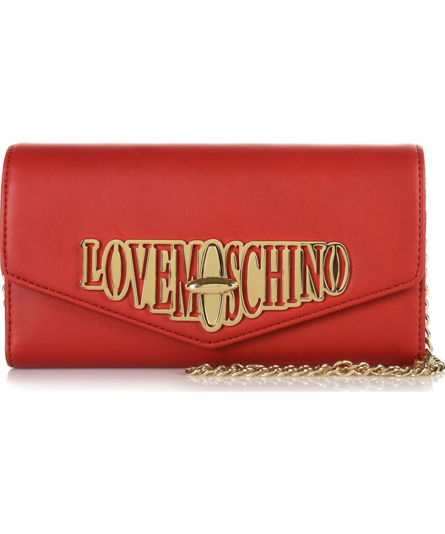 Image for Love Moschino Flap Wallet with Clasp and Chain in Red