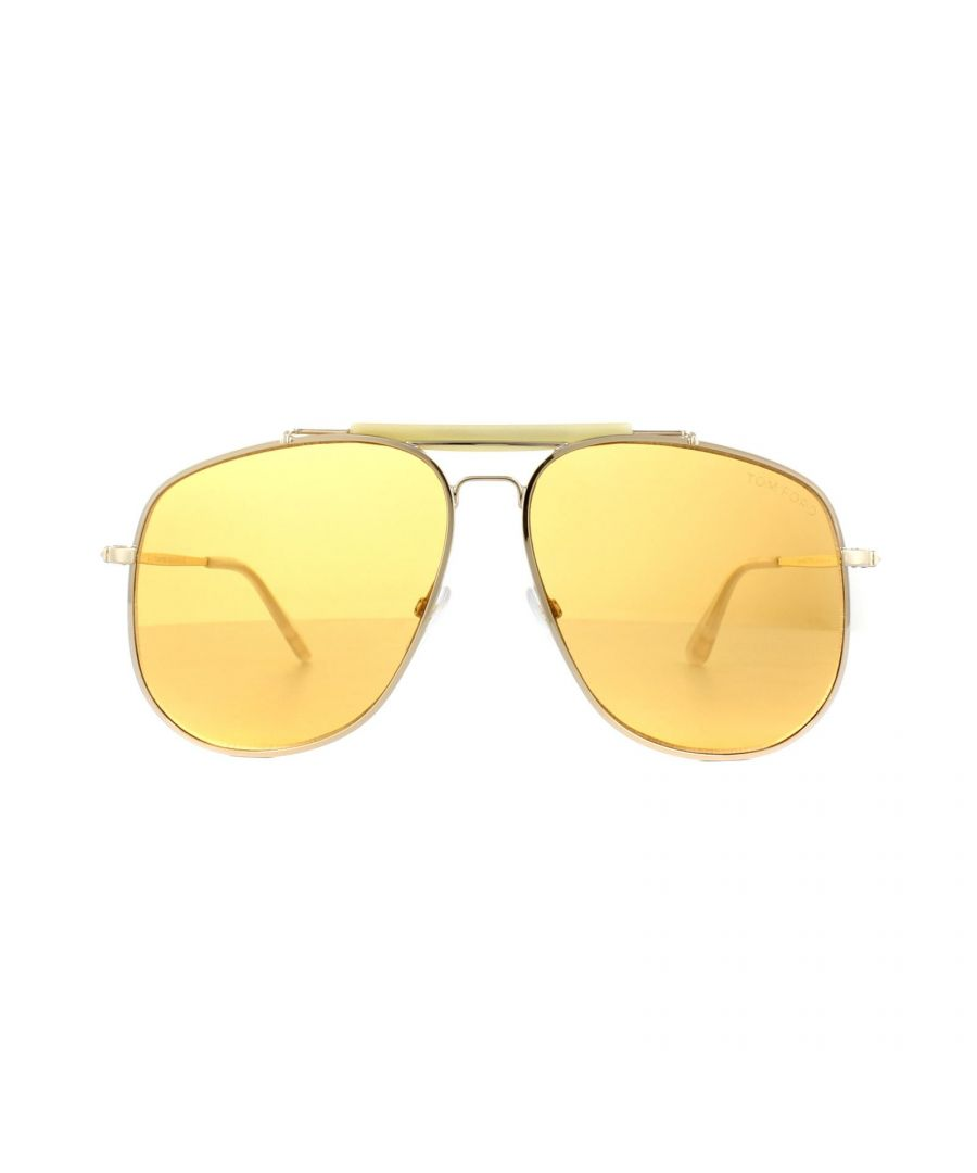 Image for Tom Ford Sunglasses 0557 Connor 02 28E Shiny Rose Gold Orange Brown
