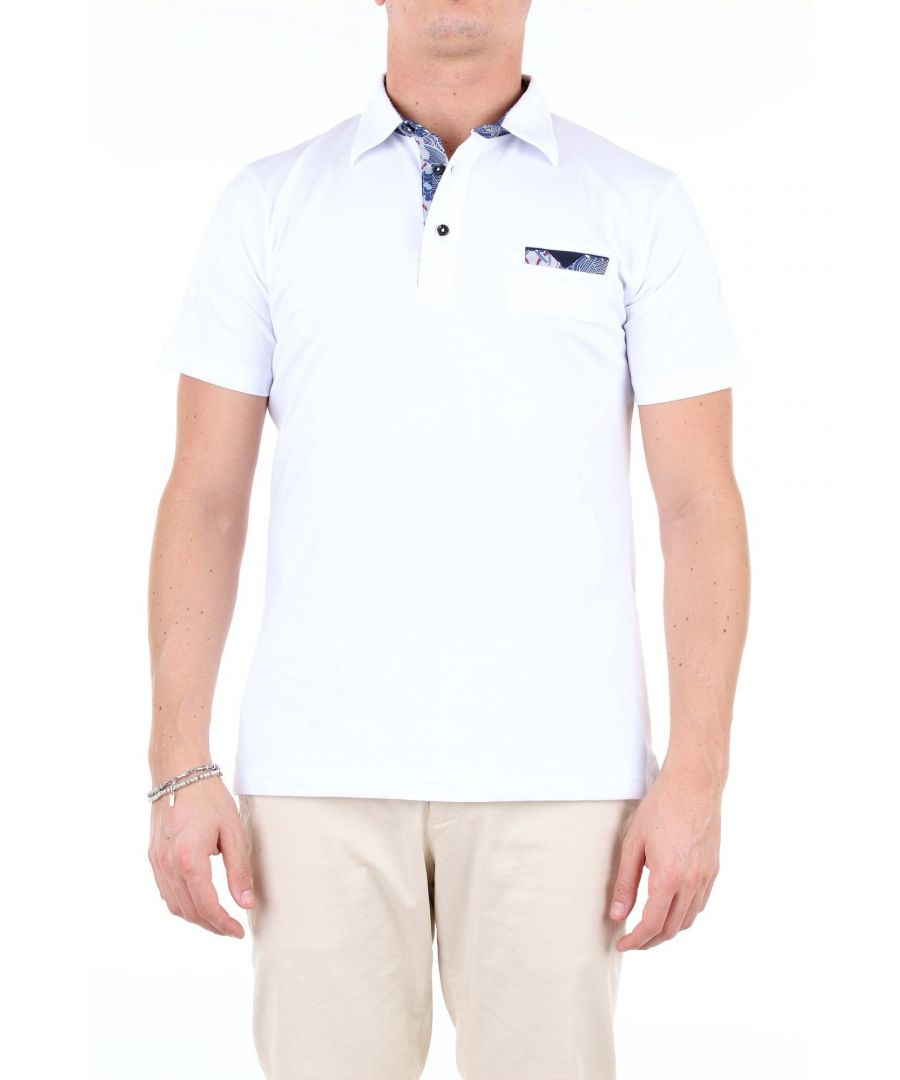 Image for ALESSANDRO DELL'ACQUA MEN'S AD0461T1785EBIANCO WHITE COTTON POLO SHIRT
