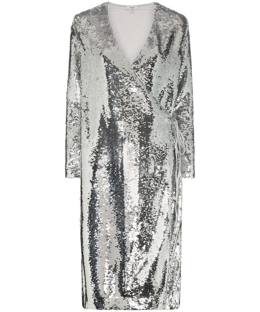 Image for GANNI WOMEN'S F3085018 SILVER POLYESTER DRESS