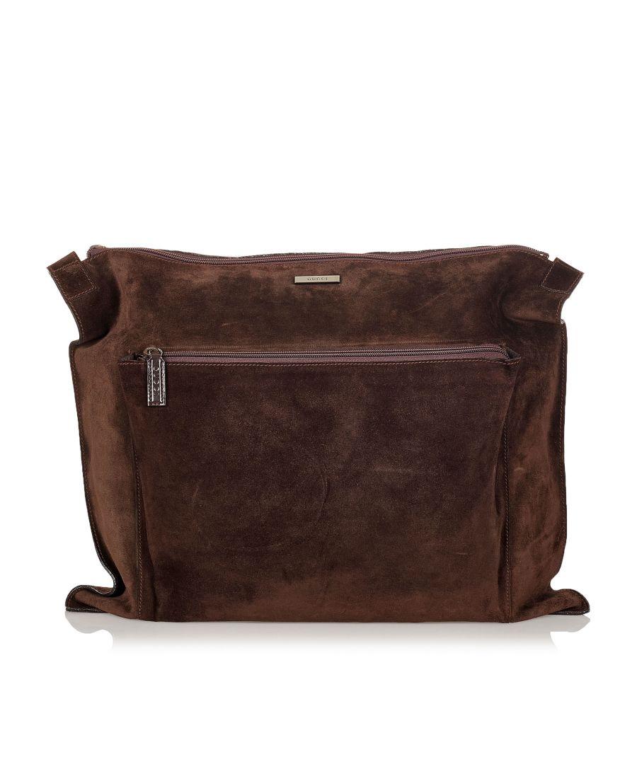 Image for Vintage Gucci Suede Travel Bag Brown