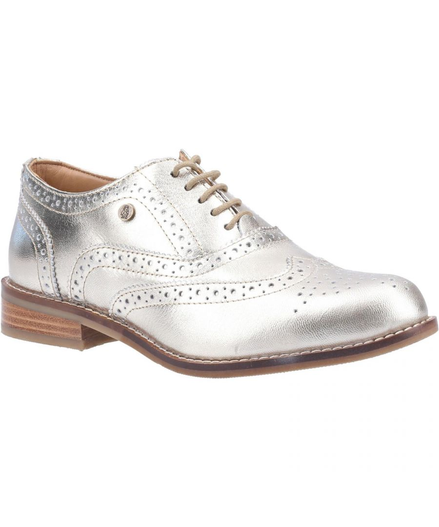 Image for Hush Puppies Women's Natalie Lace Up Leather Brogue Shoe (Gold)