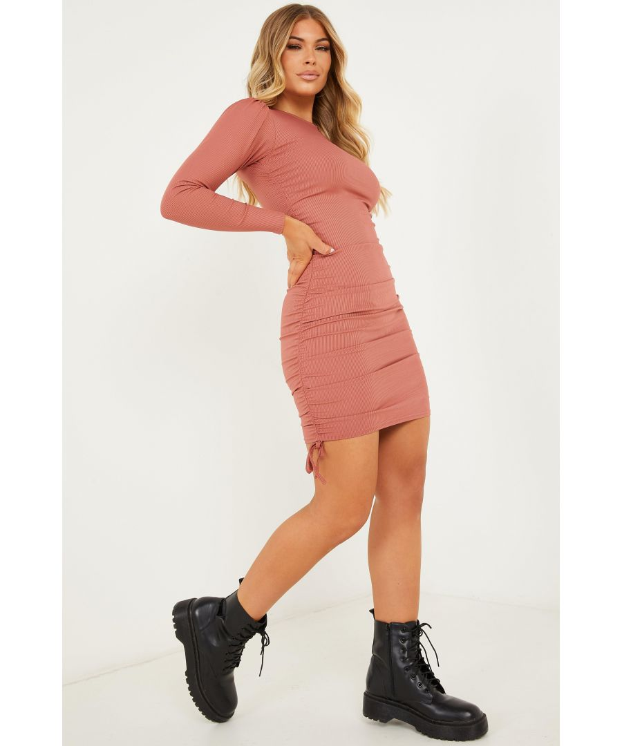 Image for Petite Pink Ruched Bodycon Dress