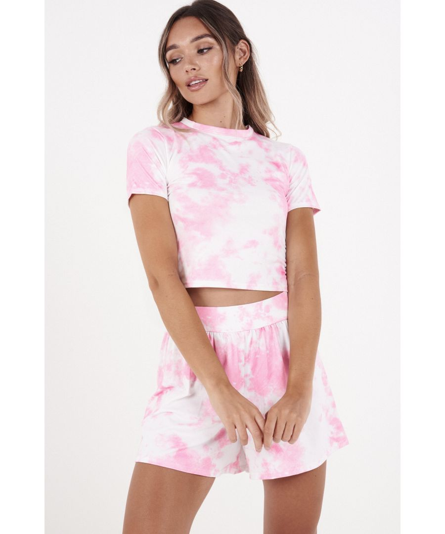 Image for Pink & White Tie Dye Shorts
