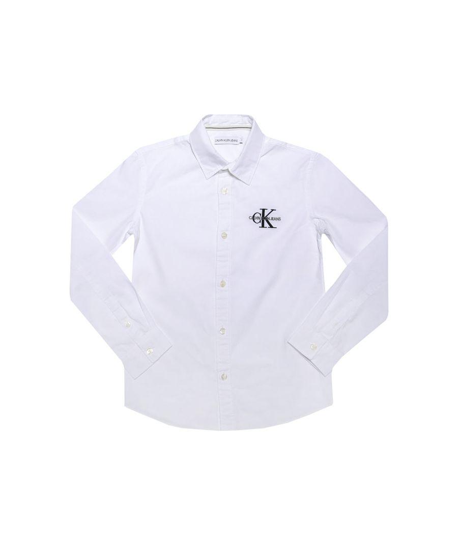 Image for Boys' Calvin Klein Infant Logo Shirt In White