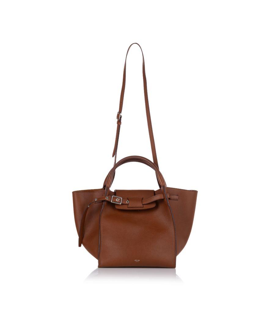 Image for Vintage Celine Small Big Leather Satchel Brown
