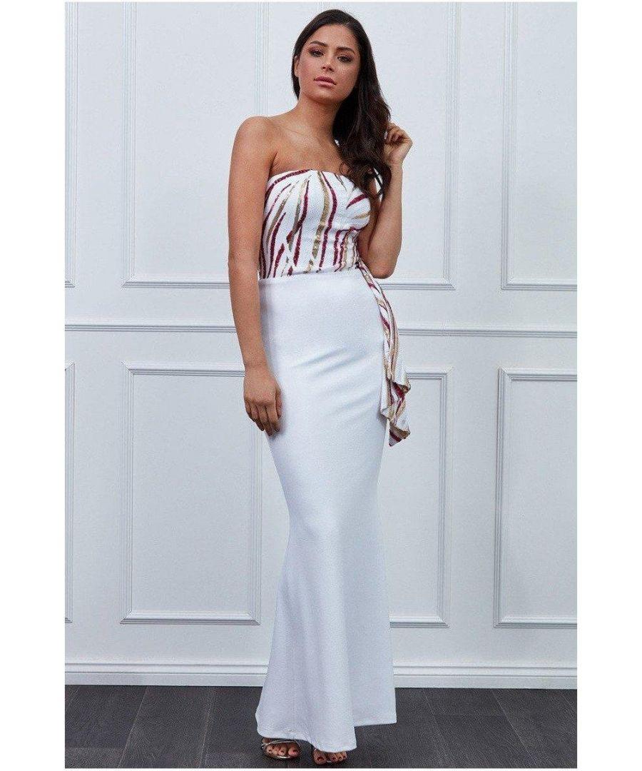 Image for Goddiva - Sequin Bandeau Maxi Dress - White Cerise