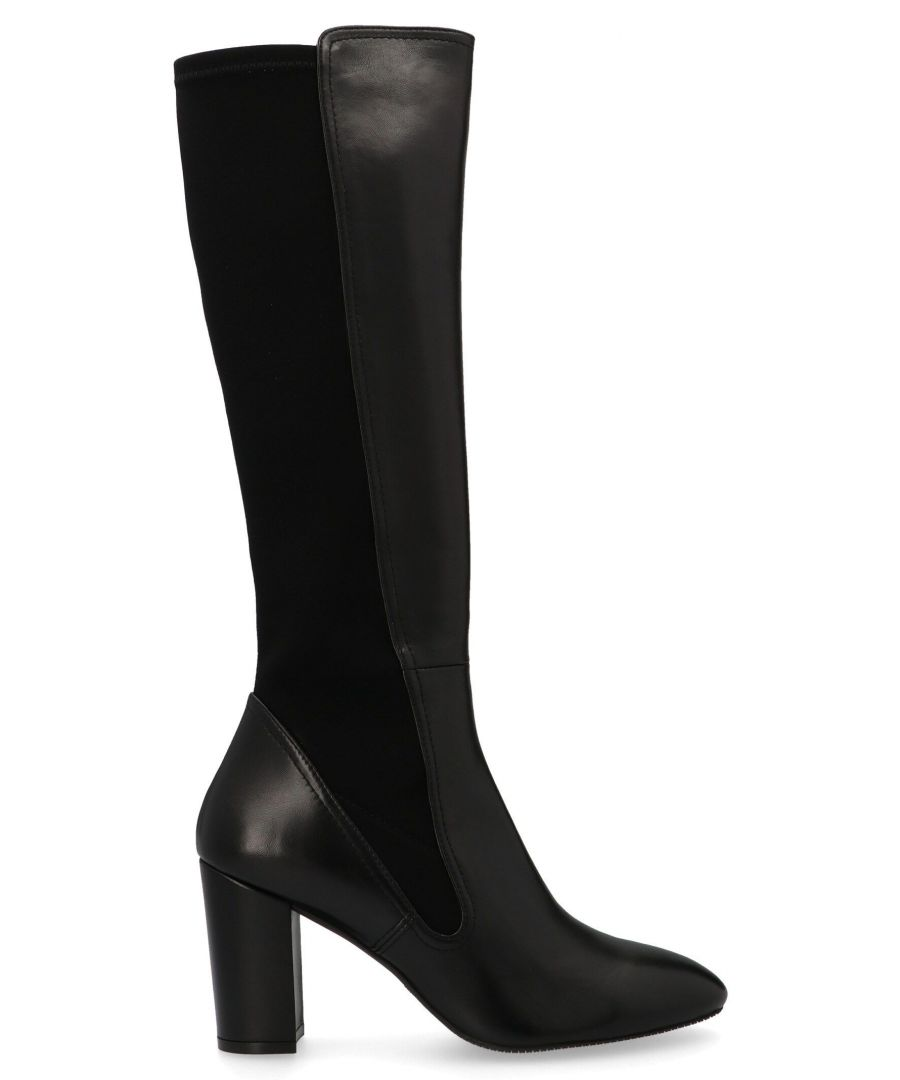 Image for STUART WEITZMAN WOMEN'S LIVIANAPPABLACK BLACK LEATHER BOOTS