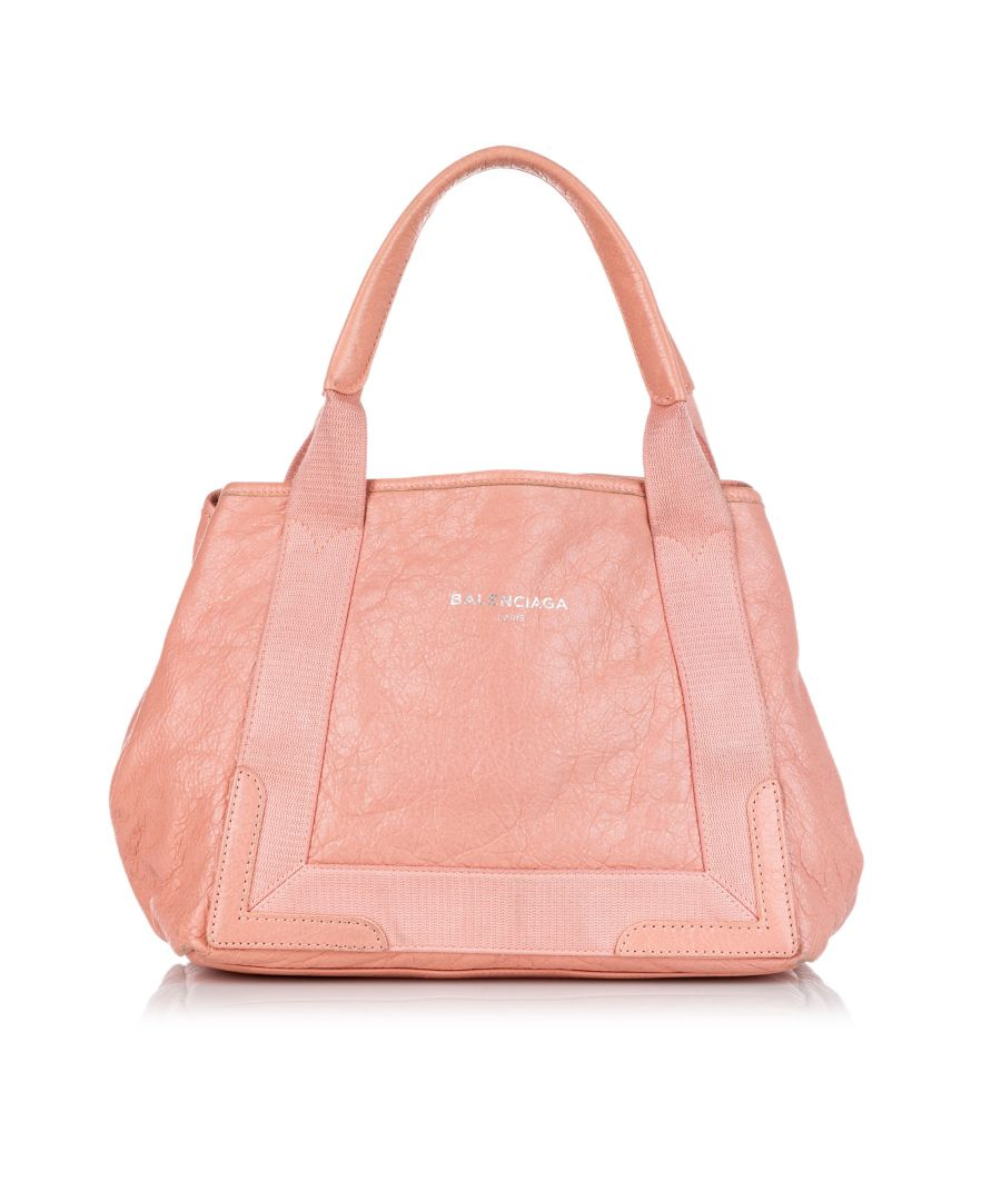 Image for Vintage Balenciaga Navy Cabas S Leather Tote Bag Pink