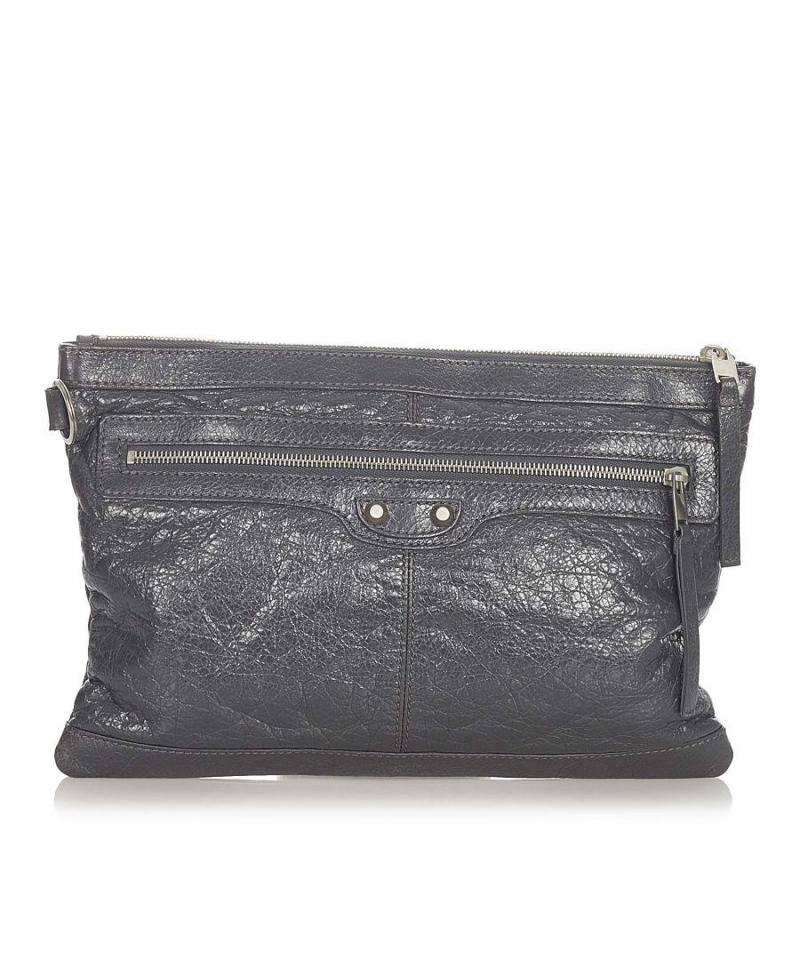 Image for Vintage Balenciaga Motocross Clip M Leather Clutch Bag Black