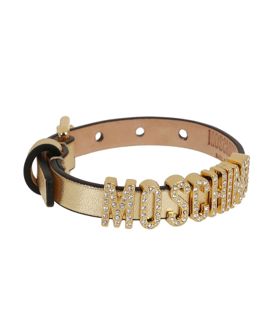 Image for MOSCHINO WOMEN'S A775780110606 GOLD LEATHER BRACELET