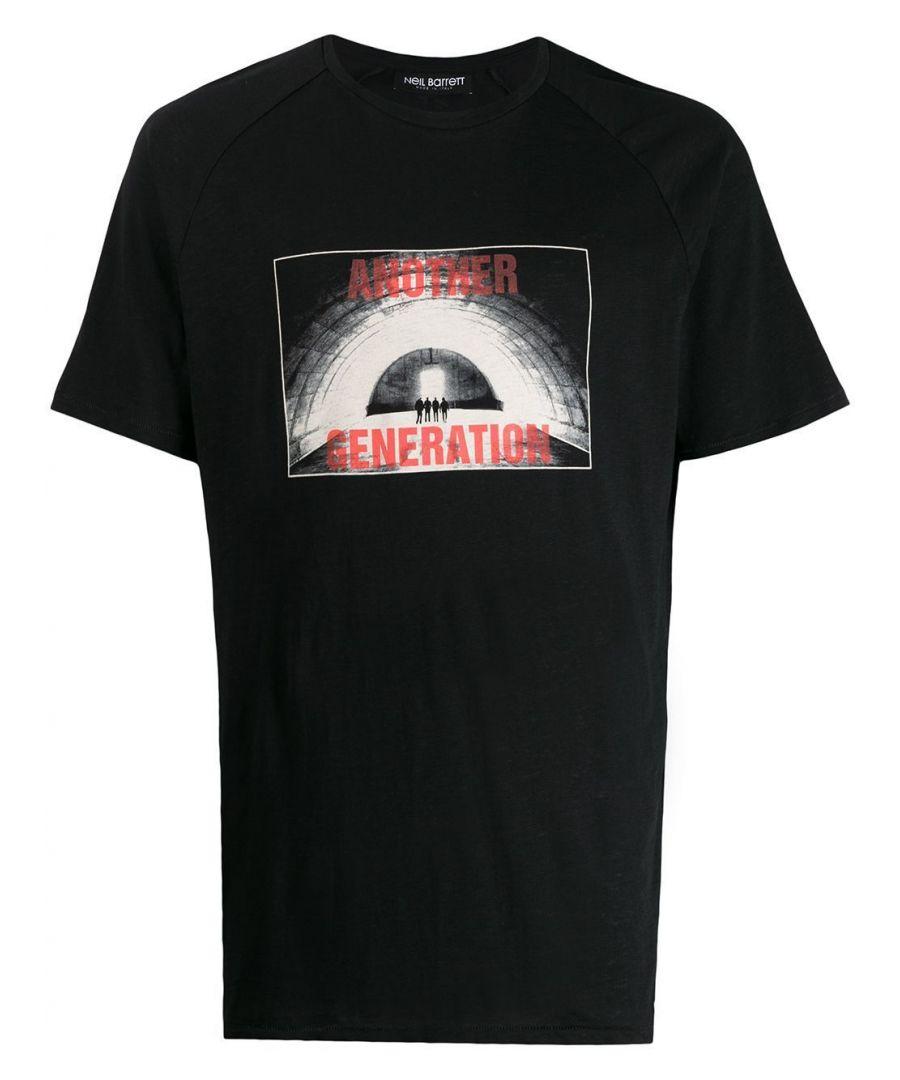 Image for NEIL BARRETT MEN'S BJT632SM589S0101 BLACK COTTON T-SHIRT