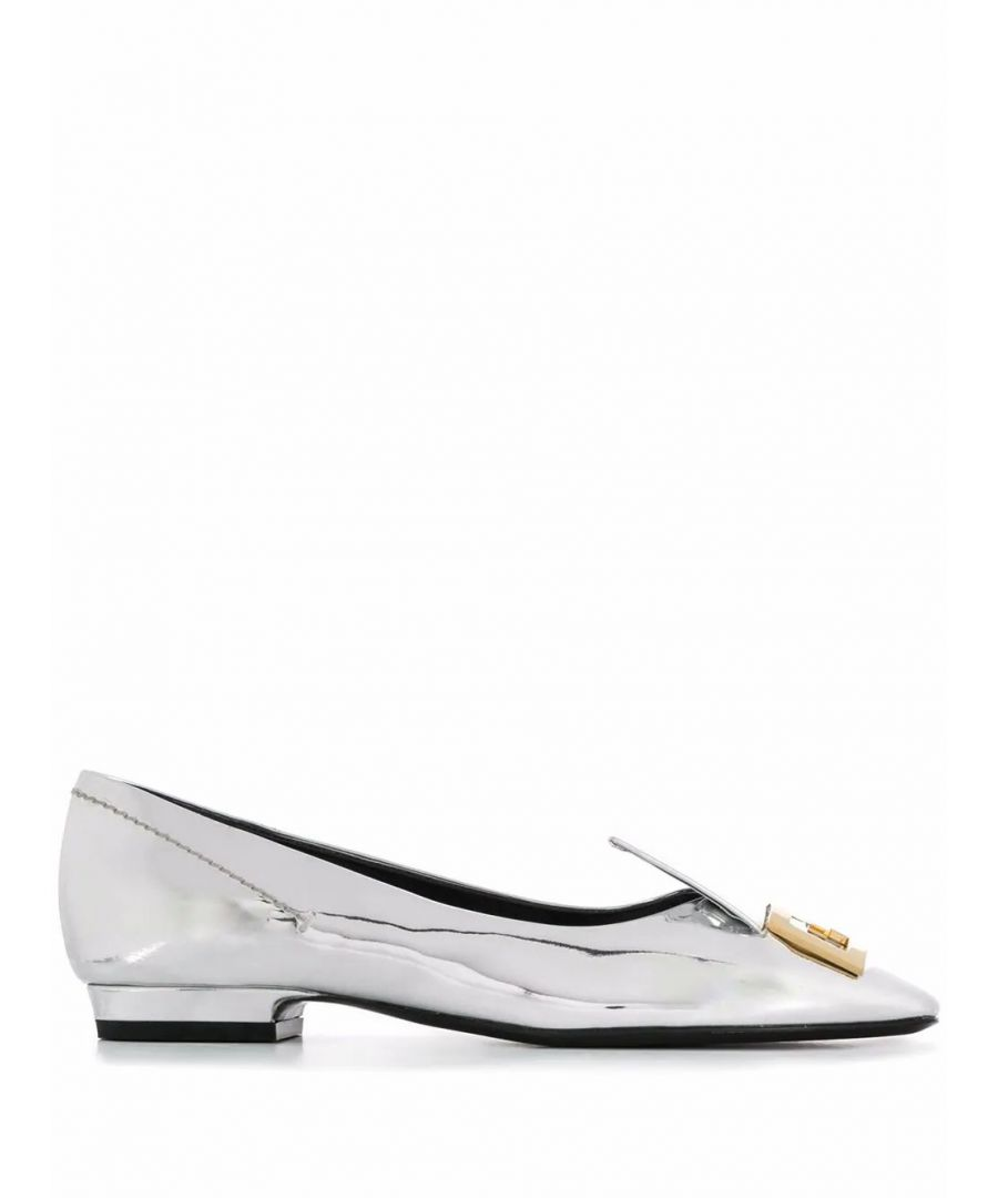 Image for GIVENCHY WOMEN'S BE200QE0LS040 SILVER LEATHER FLATS
