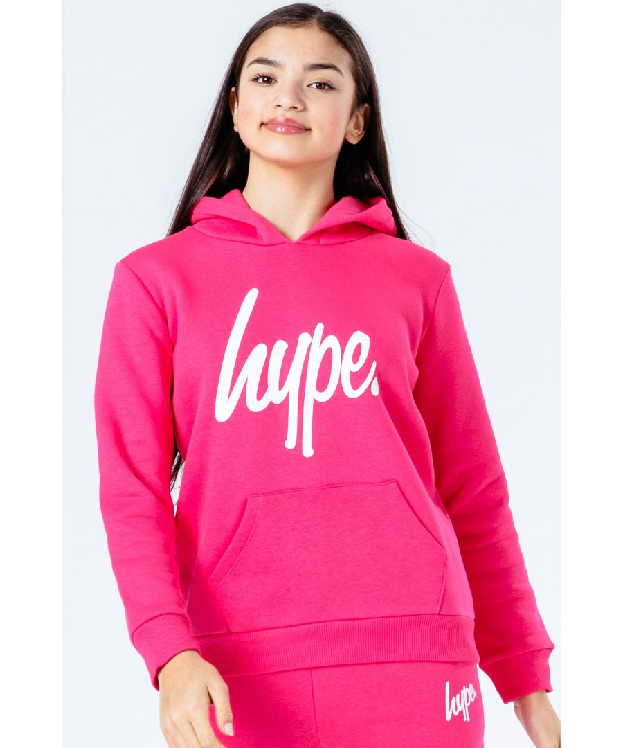Image for Hype Power Pink Script Kids Pullover Hoodie