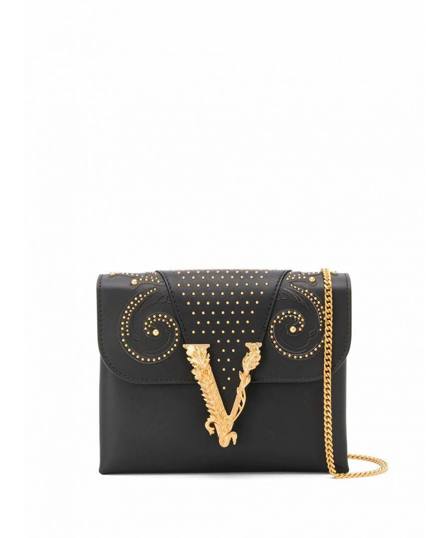 Image for VERSACE WOMEN'S DBSH322D2VRBBK41OT BLACK LEATHER SHOULDER BAG