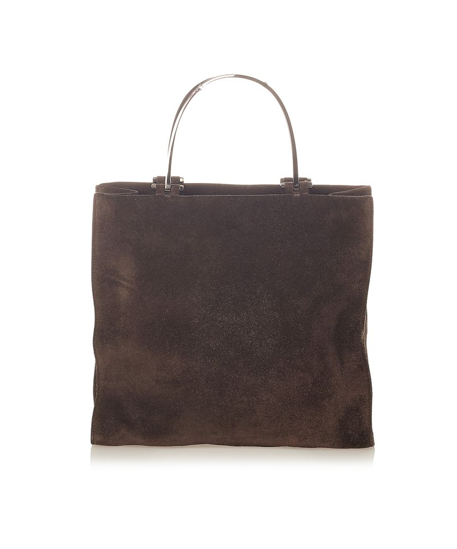 Image for Vintage Gucci Suede Tote Brown