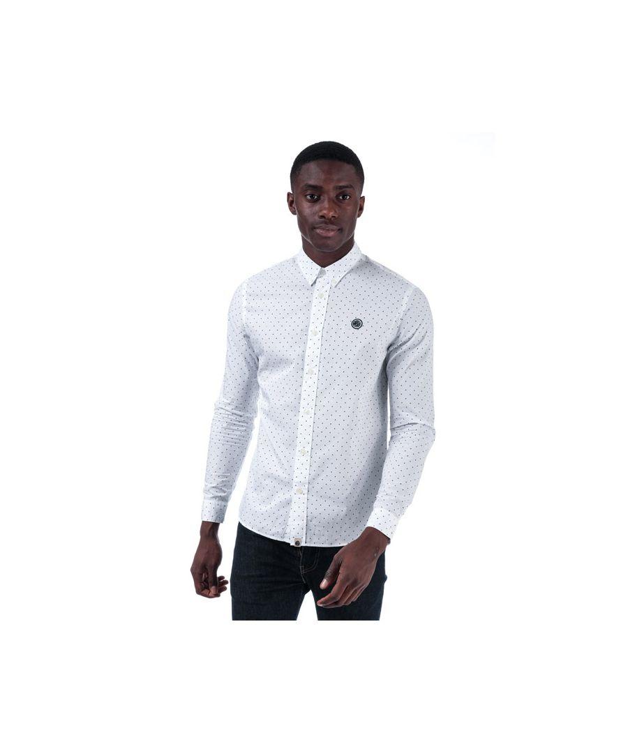 Image for Men's Pretty Green Horlock Long Sleeve Polka Dot Shirt in White