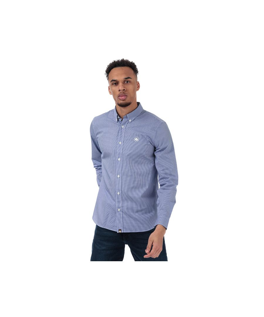 Image for Men's Pretty Green Classic Fit Gingham Shirt in Blue