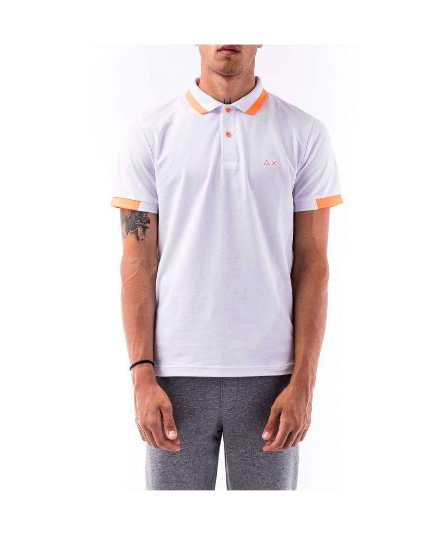 Image for SUN 68 MEN'S A3011501 WHITE COTTON POLO SHIRT
