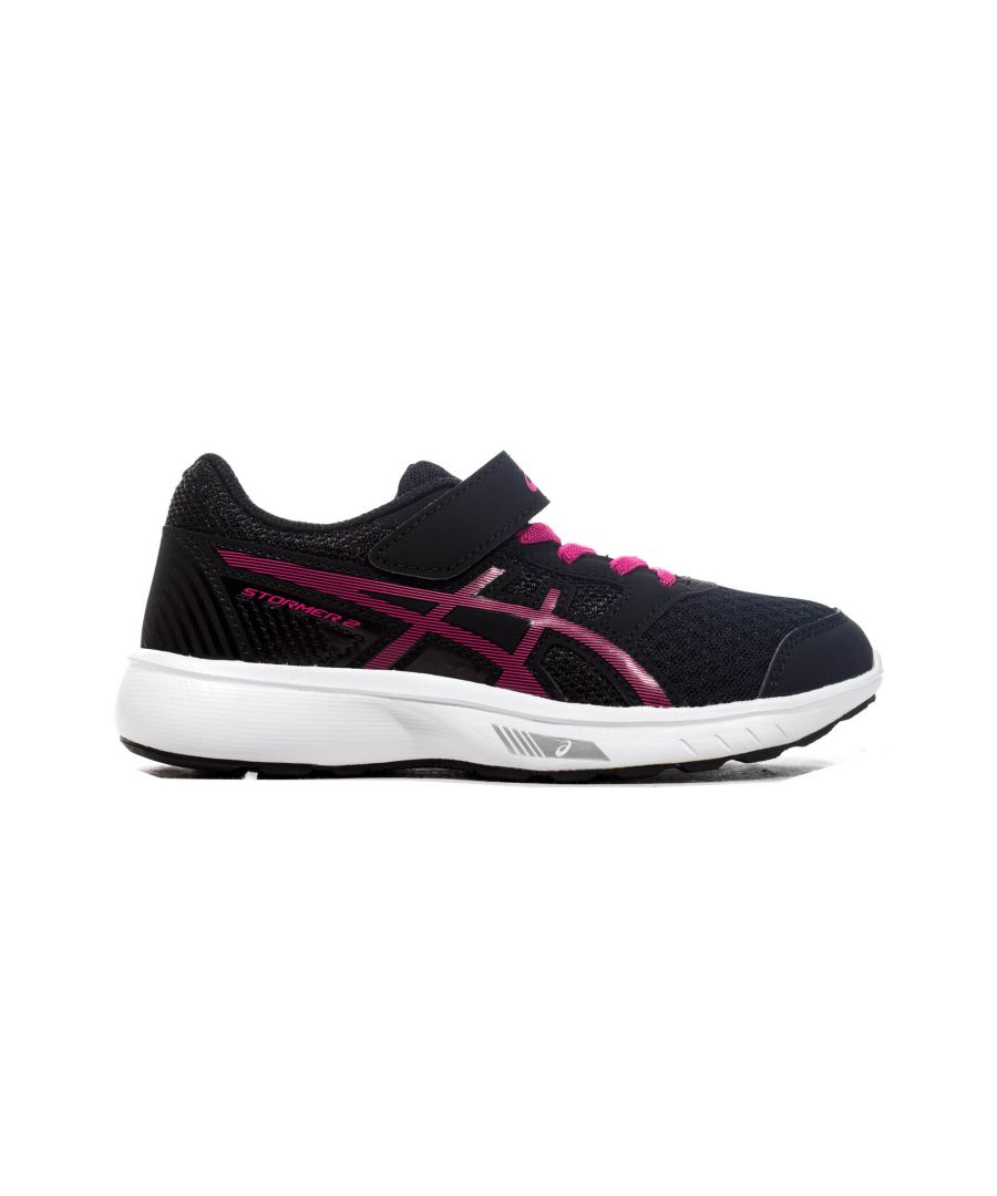Image for Asics Stormer 2 Junior Running Trainer Black/Pink - UK 13