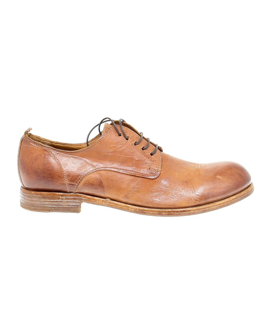 Image for MOMA MEN'S 12801 BROWN LEATHER LACE-UP SHOES
