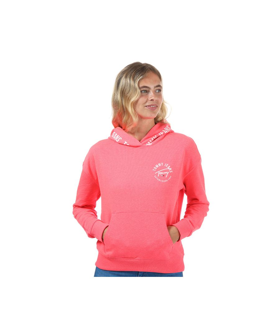 Image for Women's Tommy Hilfiger Repeat Logo Tape Organic Cotton Hoody in Pink