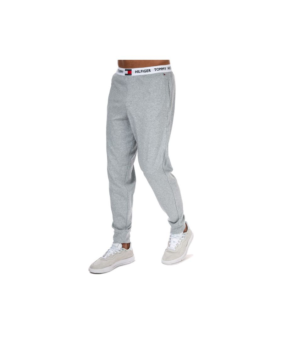 Image for Tommy Hilfiger Men's Logo Waistband Organic Cotton Joggers in Grey Heather