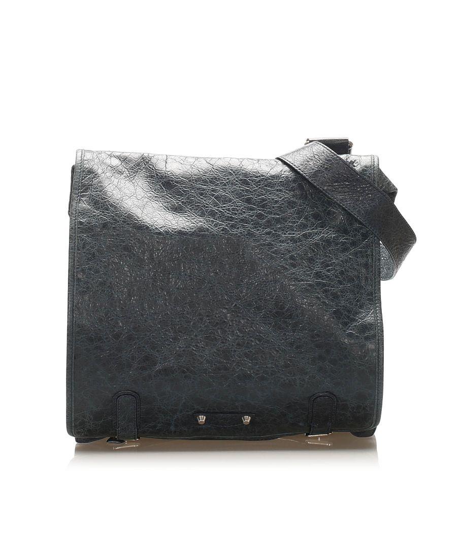 Image for Vintage Balenciaga Agneau Messenger Leather Crossbody Bag Blue