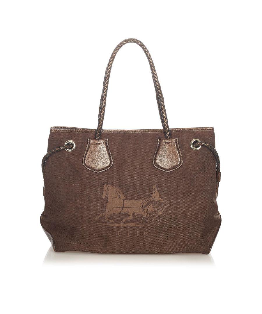 Image for Vintage Celine Carriage Canvas Tote Bag Brown