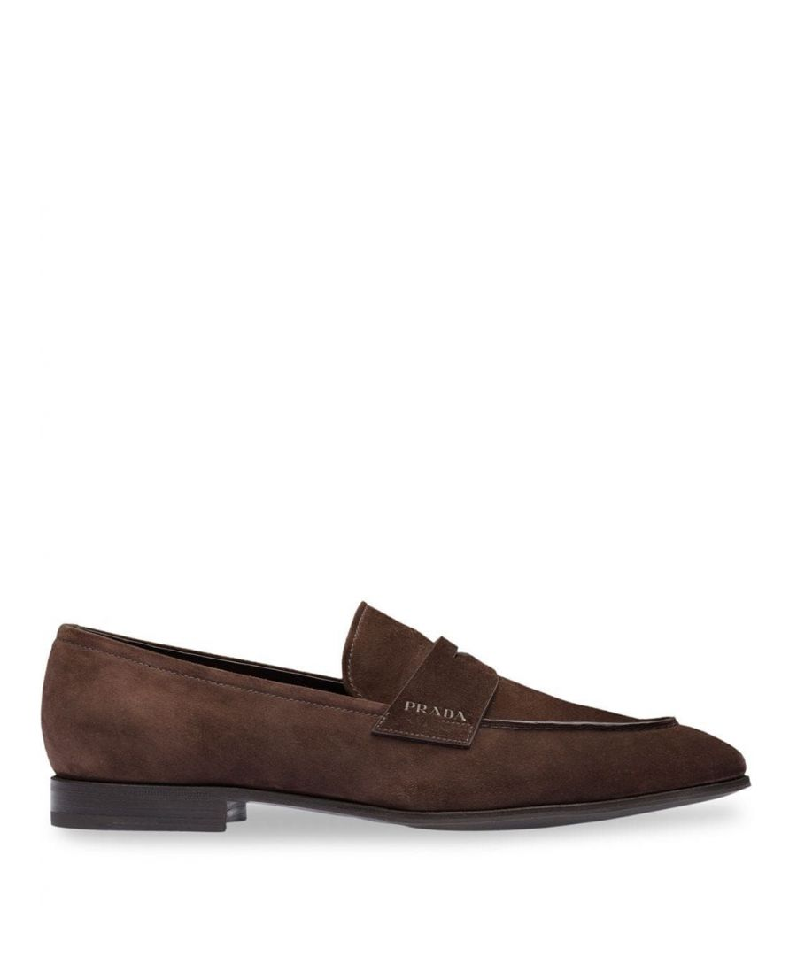 Image for PRADA MEN'S 2DB185103F0003 BROWN SUEDE LOAFERS