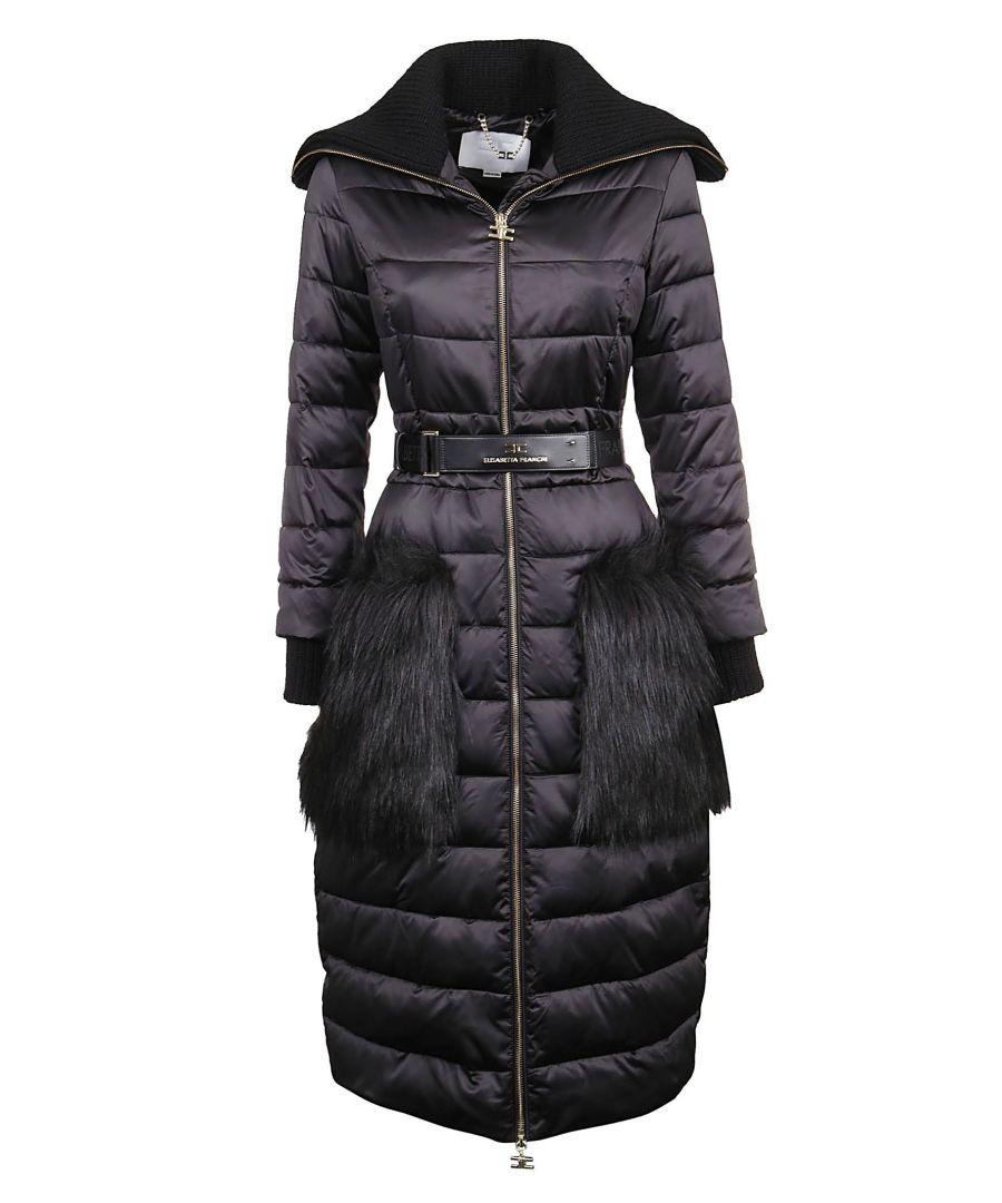 Image for ELISABETTA FRANCHI WOMEN'S PI07H96E2110 BLACK POLYESTER COAT