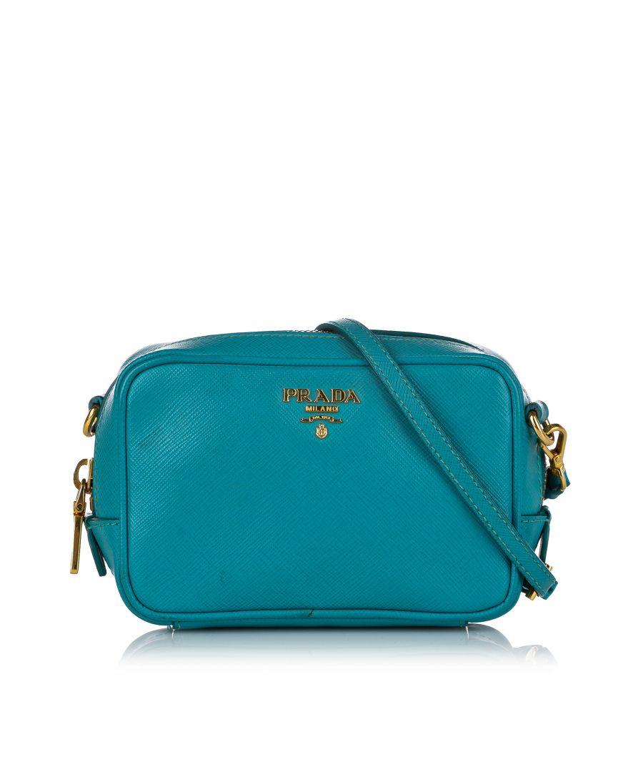 Image for Vintage Prada Saffiano Crossbody Bag Blue