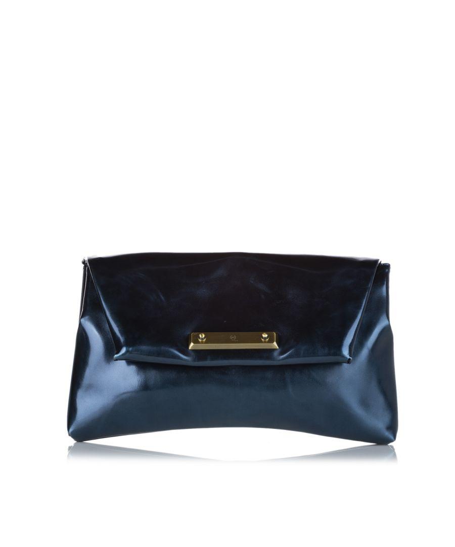 Image for Vintage Alexander McQueen Patent Leather Clutch Bag Blue