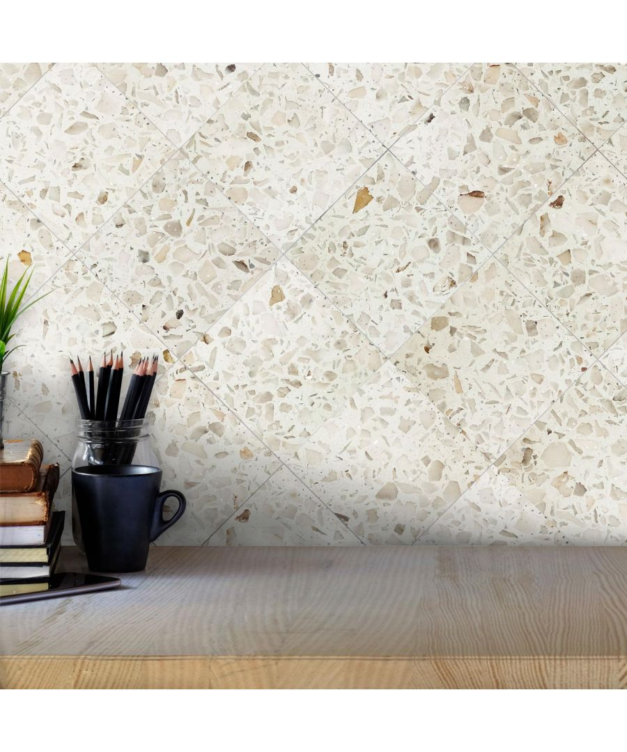 Image for Marble Terrazzo Metallic Silver Wall Tile Sticker Set - 15cm (6inch) - 24pcs one pack