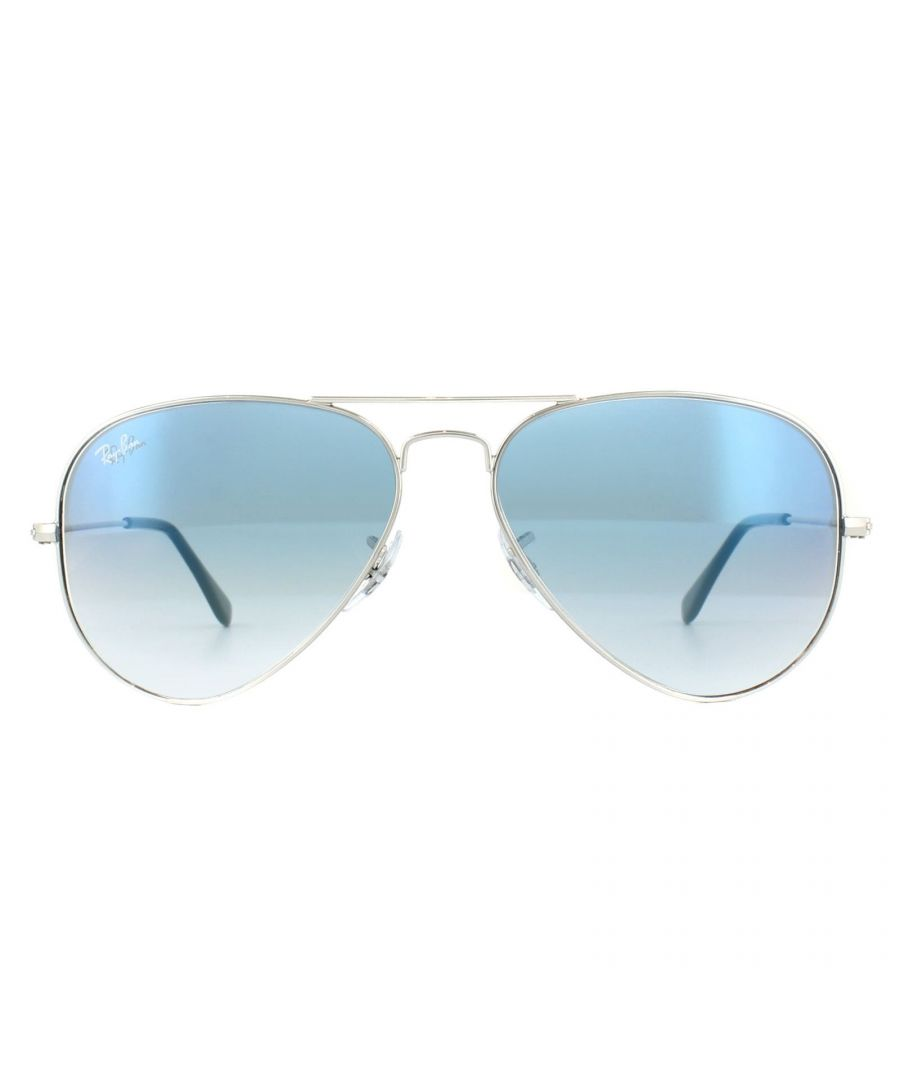 Image for Ray-Ban Sunglasses Aviator 3025 003/3F Silver Light Blue Gradient 58mm