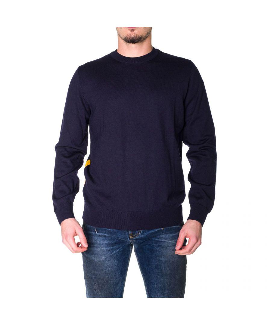 Image for HUGO BOSS MEN'S 50415797402 BLUE WOOL SWEATER