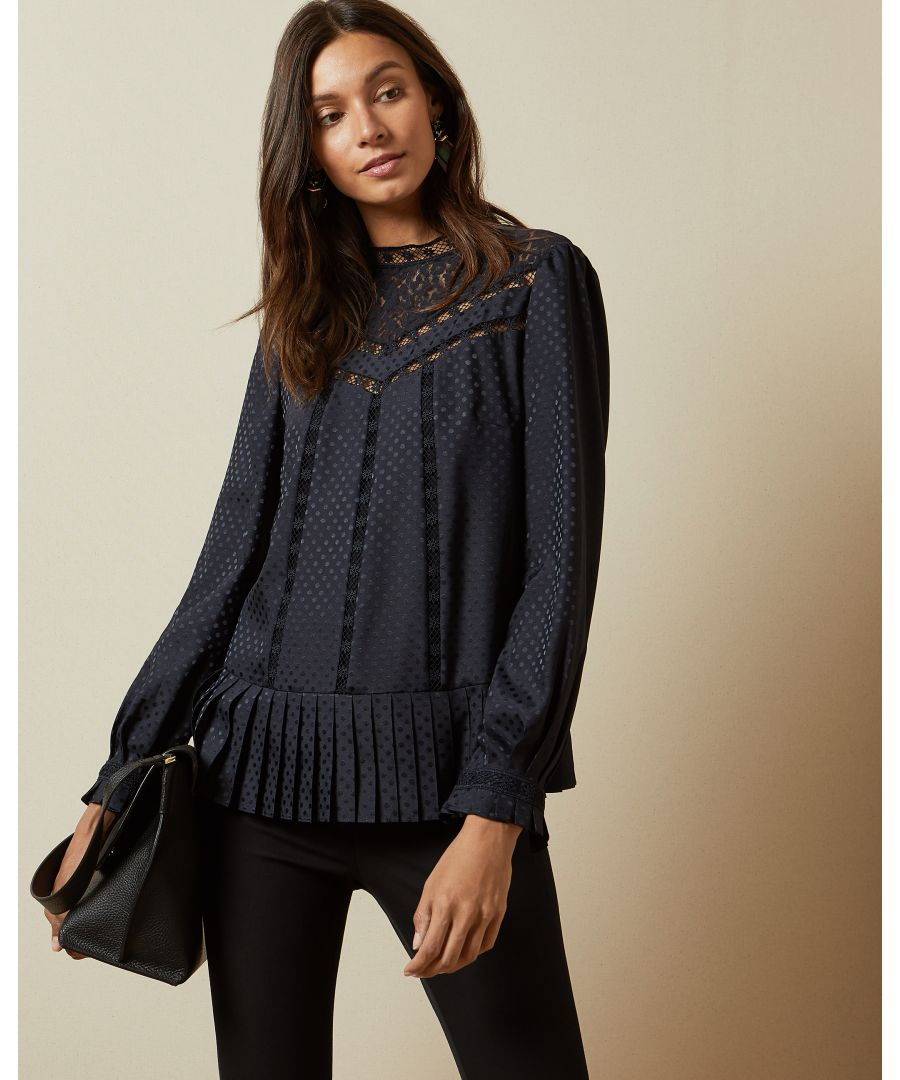 Image for Ted Baker Shilli Animal Mesh Lace Swing Top, Navy