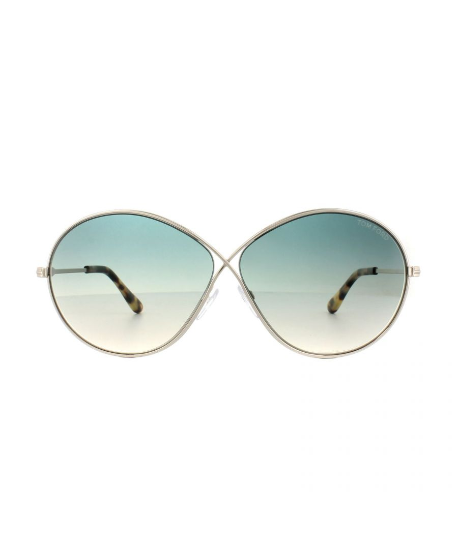 Image for Tom Ford Sunglasses 0564 Rania 02 28P Shiny Rose Gold Green Gradient