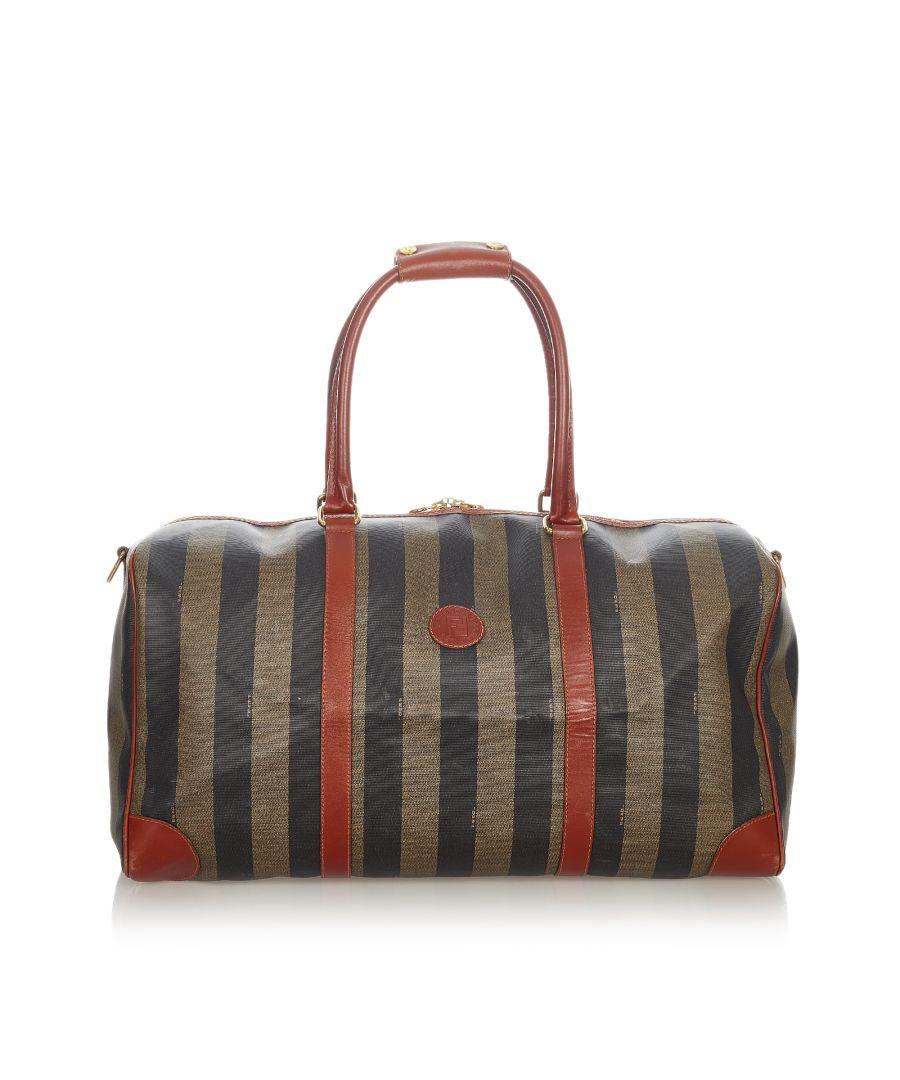 Image for Vintage Fendi Pequin Travel Bag Brown