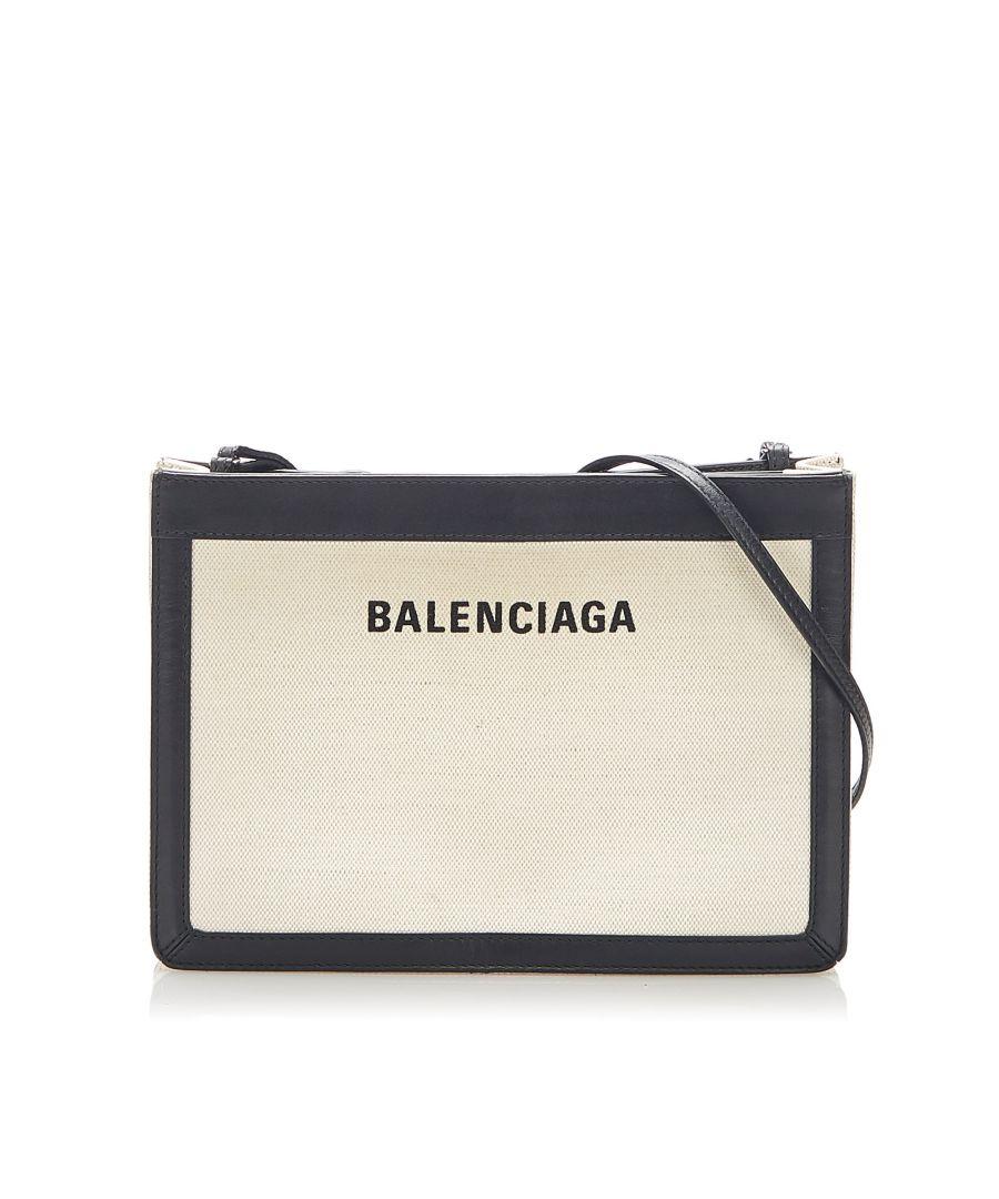 Image for Vintage Balenciaga Navy Pochette S Leather Crossbody Bag Black