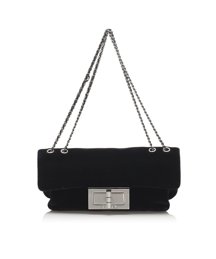 Image for Vintage Chanel Reissue Velvet Shoulder Bag Black