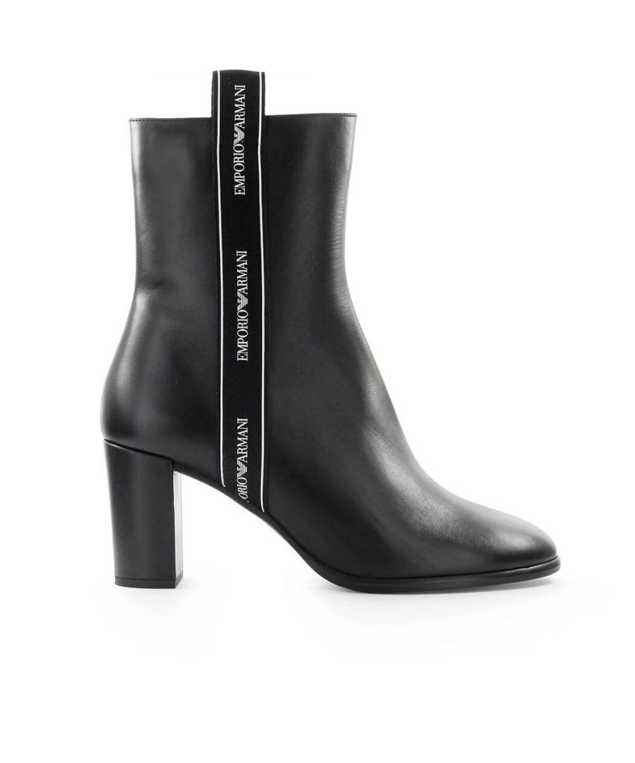 Image for EMPORIO ARMANI WOMEN'S X3N147XM107B133 BLACK LEATHER ANKLE BOOTS